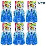 Hatisan-Pro 12 Piezas de Pompones para Animadoras de Primera Calidad, Cheerleader Pompoms de Plástico para Deportes Aclamaciones Baile de Baile Disfraces Fiesta Nocturna(Azul)