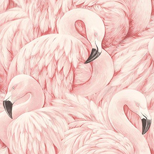snel behang uit de collectie Lucy in the Sky - vliesbehang met flamingo-design - 10,05 m x 53 cm (L x B) Natuur 10,05m x 0,53m (LxB) roze
