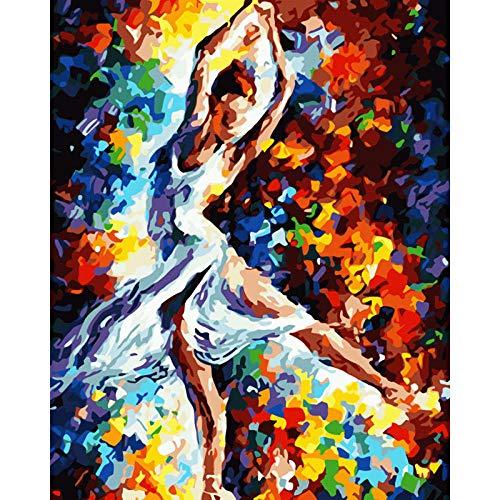 MEEKIS Malen nach Zahlen DIY abstrakte Tänzerin Figur Leinwand Hochzeit Dekoration Kunst Bild Geschenk-40x50cm
