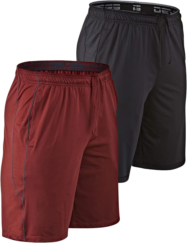 """DEVOPS Men's 2-Pack Loose-Fit 10"""" Workout Gym Shorts with Pockets"""