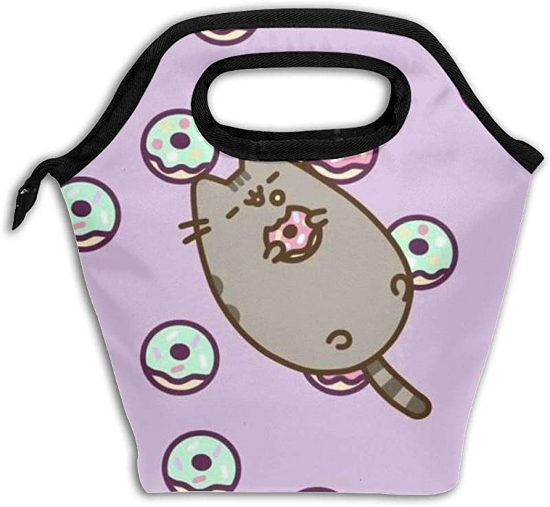 Pu Sh Een C At Do Nut Durable Lunch Box Insulated Lunch Tote Picnic Bags Ice Pack For Kids And Adult Men Women