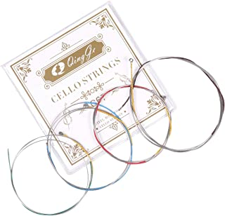 Q QINGGE Steel Core Cello Strings 4/4 3/4 set Strings for Student Strings – Sealed Pouch Prevents Corrosion