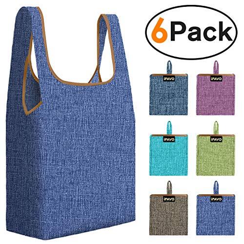 Wiederverwendbare Einkaufstaschen, faltbar, mit Tasche, strapazierfähiges Nylongewebe, wiederverwendbare Taschen für Lebensmittel, Einkaufstouren, Nylon, B66, 6-pcs