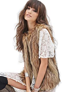 Women's Black Faux Fur Vest Fashion Warm Waistcoat Sleeveless Jacket for Girls