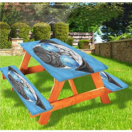 LEWIS FRANKLIN - Mantel ajustable para mesa de picnic y banco, diseño de retrato con gafas de sol con borde elástico, 28 x 72 pulgadas, juego de 3 piezas para mesa plegable
