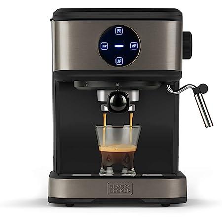 BLACK+DECKER BXCO850E - Machine à café expresso 850W, 20 bars, 2 tasses, Fonction vapeur, Arrêt automatique, Quantité programmable, Système extra crème, Réservoir 1,5L, Finition anti-traces de doigts