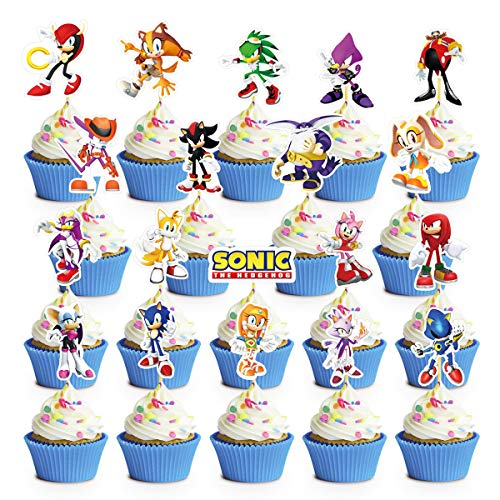 38 Cupcake Decorations for Sonic Cupcake Toppers Birthday Party Supplies Decor