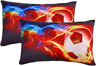 ADASMILE A & S 2 Pieces Pillow Case Cool Soccer Fire Printed Standard Pillowcases Super Soft Cover Home Decorative Sleepin...