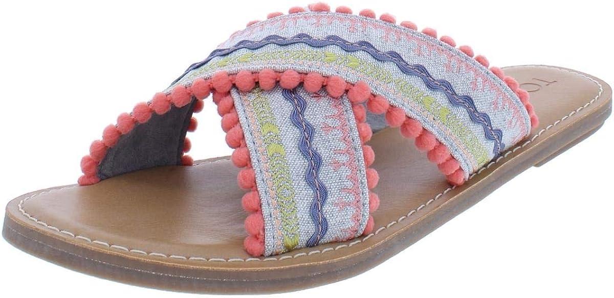 TOMS Womens Viv Striped Flat Sandals Sandals Casual - Multi,Orange