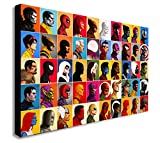 Marvel Comics-Collage Head-Shot-Leinwand Kunstdruck., holz, A0 47x33