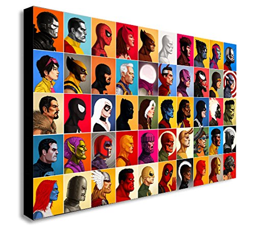 Marvel Comics-Collage Head-Shot-Leinwand Kunstdruck., holz, A1 32x24