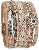 styleBREAKER Bracelet amulette Ethnique, Pendentif Plume, Pierres de Strass, Tissu, Fermeture magnétique, Femmes 05040043, Couleur:Marron Clair
