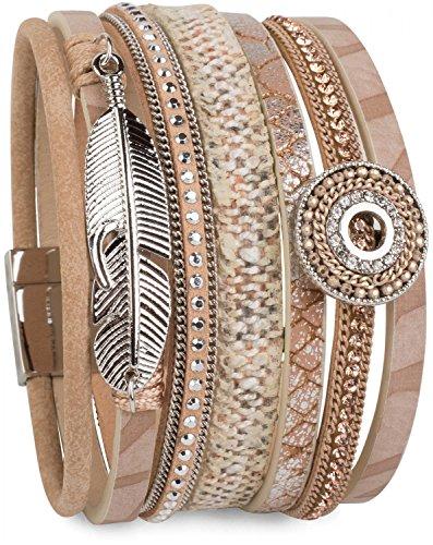 styleBREAKER Armband mit Ethno Style Amulett, Feder Anhänger, Strasssteine, Webstoff, Magnetverschluss, Damen 05040043, Farbe:Hellbraun