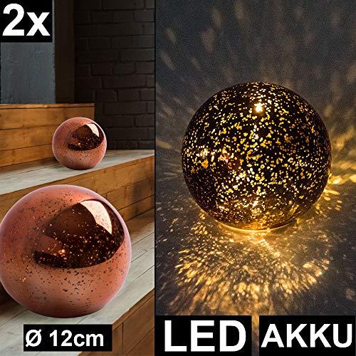 2er Set LED Deko Tisch Leuchten bronze Wohn Schlaf Zimmer Sternen Effekt Glas Kugel Lampen