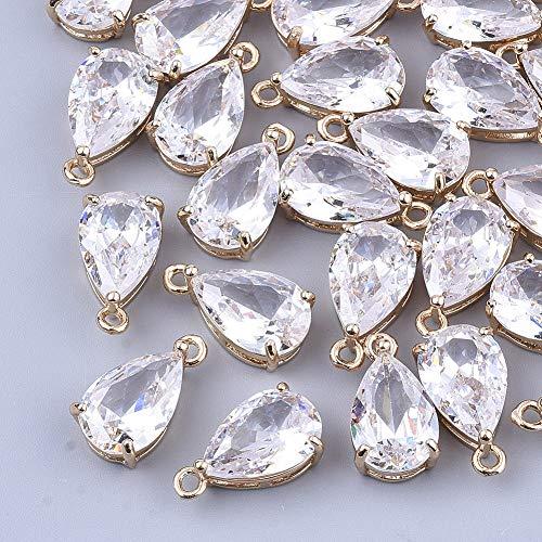 Beadthoven 50 colgantes de cristal facetado en forma de lágrima chapado en oro claro con gota de agua, colgantes colgantes de cristal para hacer collares, joyas, 15 x 8 x 6 mm