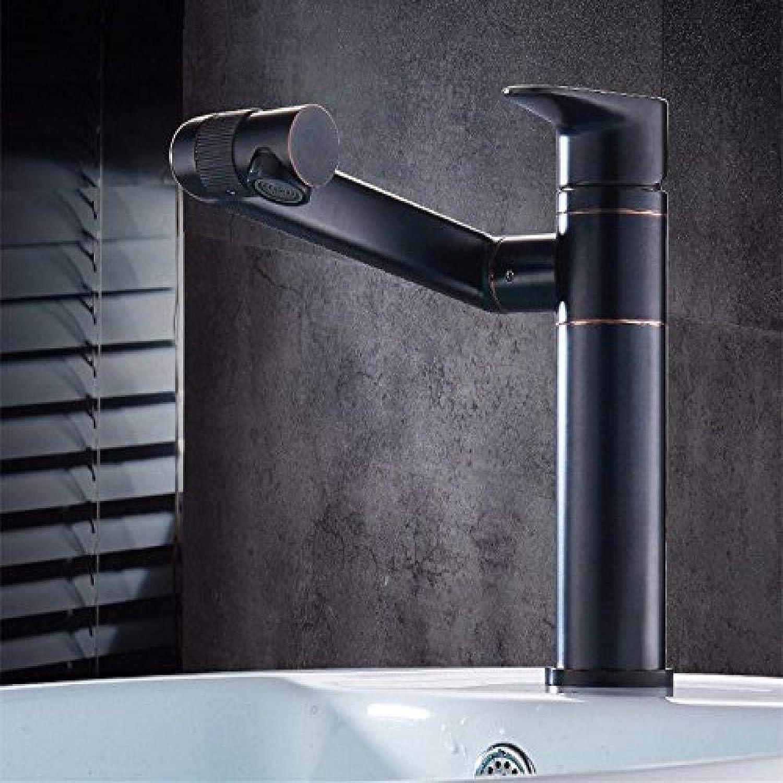 Honcx Wasserhahn Full Copper Kitchen Pull Kalt- Und Warmwasserhahn Antique schwarz Patina