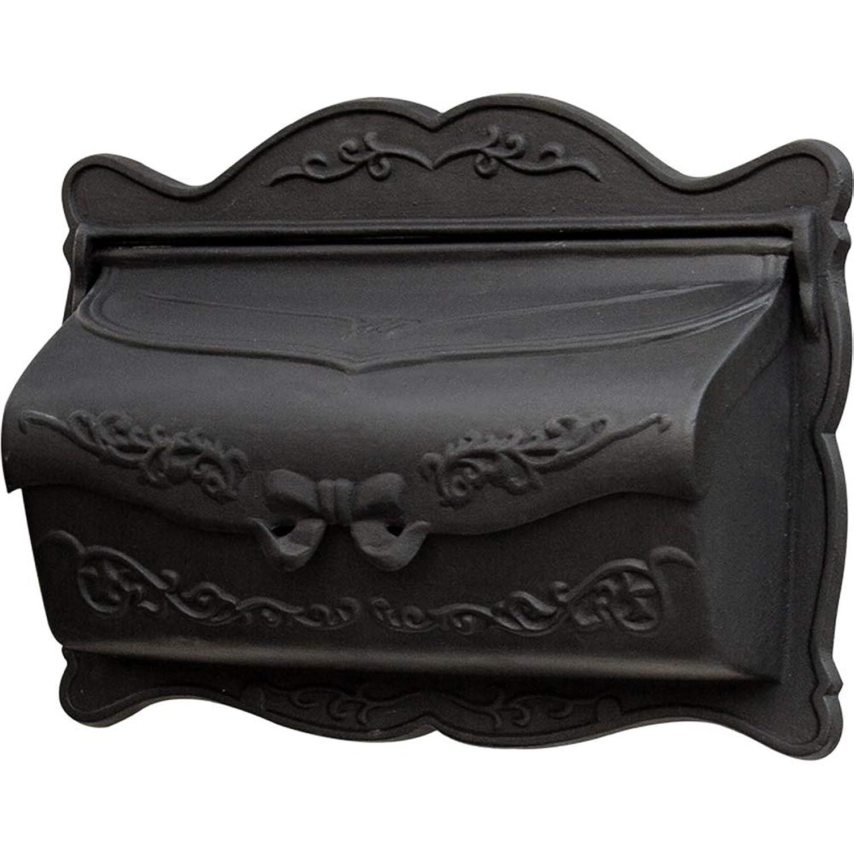 TINGTING 郵便受けア メールボックス ロック付き キャストアルミヨーロピアンスタイルのヴィラ屋外黒蝶の結び目の装飾 (色 : ブラック, サイズ さいず : 42.5*32*12cm)