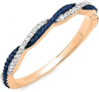 Dazzlingrock Collection 14K Gold Round Blue Sapphire & White Diamond Ladies Anniversary Wedding Band Swirl Stackable Ring