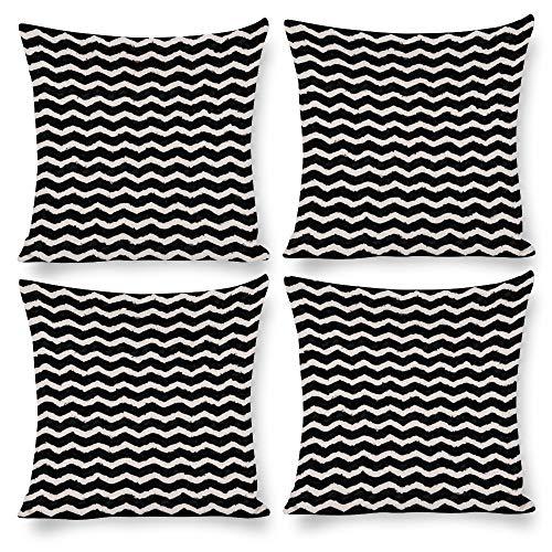 Paquete de 4 fundas de almohada de 18 x 18 cm, diseño de zig zag para cama, sofá, silla, silla, asiento, sofá, banco, piso, sala de descanso, salón, hotel