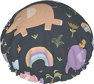 Czapka prysznicowa dla kobiet wodoodporny słoń i tęczowy dwuwarstwowy kapelusz do kąpieli wielokrotnego użytku, z elastycz...