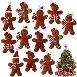 12 Adornos de Hombre de Pan de Jengibre Hombre de Pan de Jengibre de Navidad Decoración Colgante de Pan de Jengibre Figura de Pan de Jengibre Adorno de Árbol de Navidad, 4,3 Pulgadas