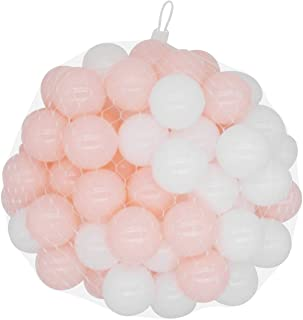 TRENDBOX 100 Colorful Ocean Ball (Ship from USA) for Babies Kids Children Soft Plastic Birthday Parties Events Playground Games Pool - Pink, White
