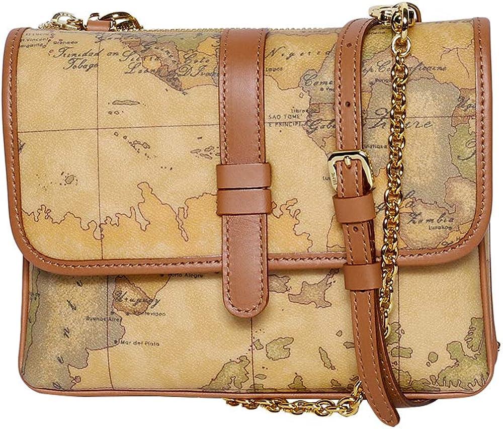 Alviero martini 1^classe, borsa a tracolla per donna, in tessuto stampato con cartina geografica geo classic CM03960000010