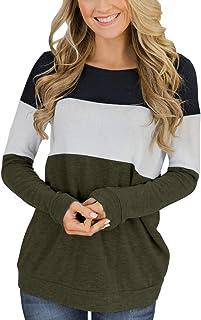 Women's Long Sleeve Color Block Cute Shirt Round Neck...