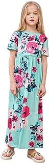 Girls Short Sleeve Floral Maxi Dress Summer Holiday Causal Long Dress with Pockets