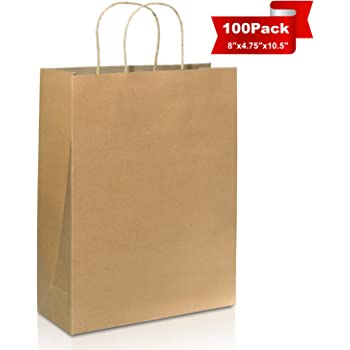 """100PCS Kraft Paper Bags (8x 4.75 x 10""""), Brown Paper Shopping Bags with Handle Environmentally Friendly and Reusable Candy Gift Bag for Retails, Birthday, Wedding, Parties"""