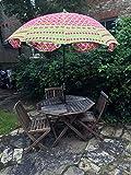 Sombrilla para jardín de Color Rosa y Verde, Hecha a Mano, con Bordado Indio, para Exteriores, 183 cm