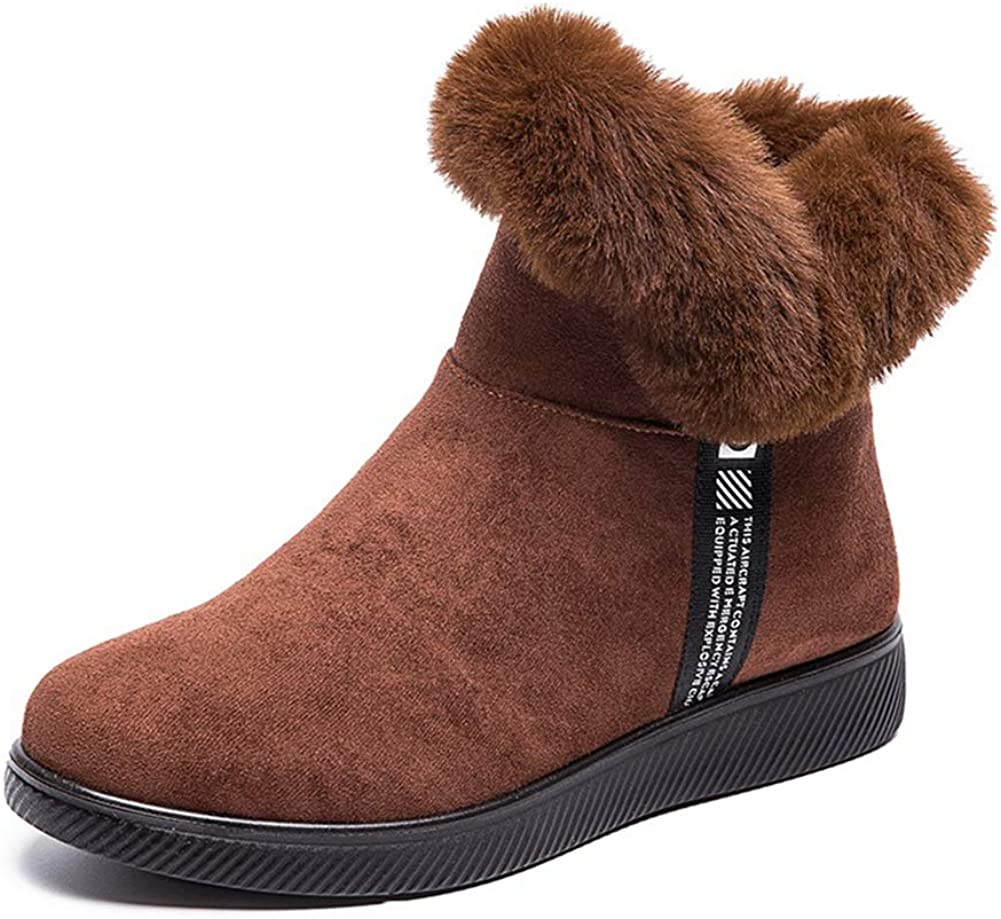 King Ma Women's Faux Ankle Max 78% OFF Boot Snow Suede Los Angeles Mall Boots Winter Warm Fla