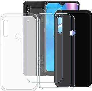 TTJ Svart + genomskinligt fodral för Alcatel 1SE 2020 [3 stycken] HD pansarglas, mobiltelefonfodral silikon skyddande fodr...