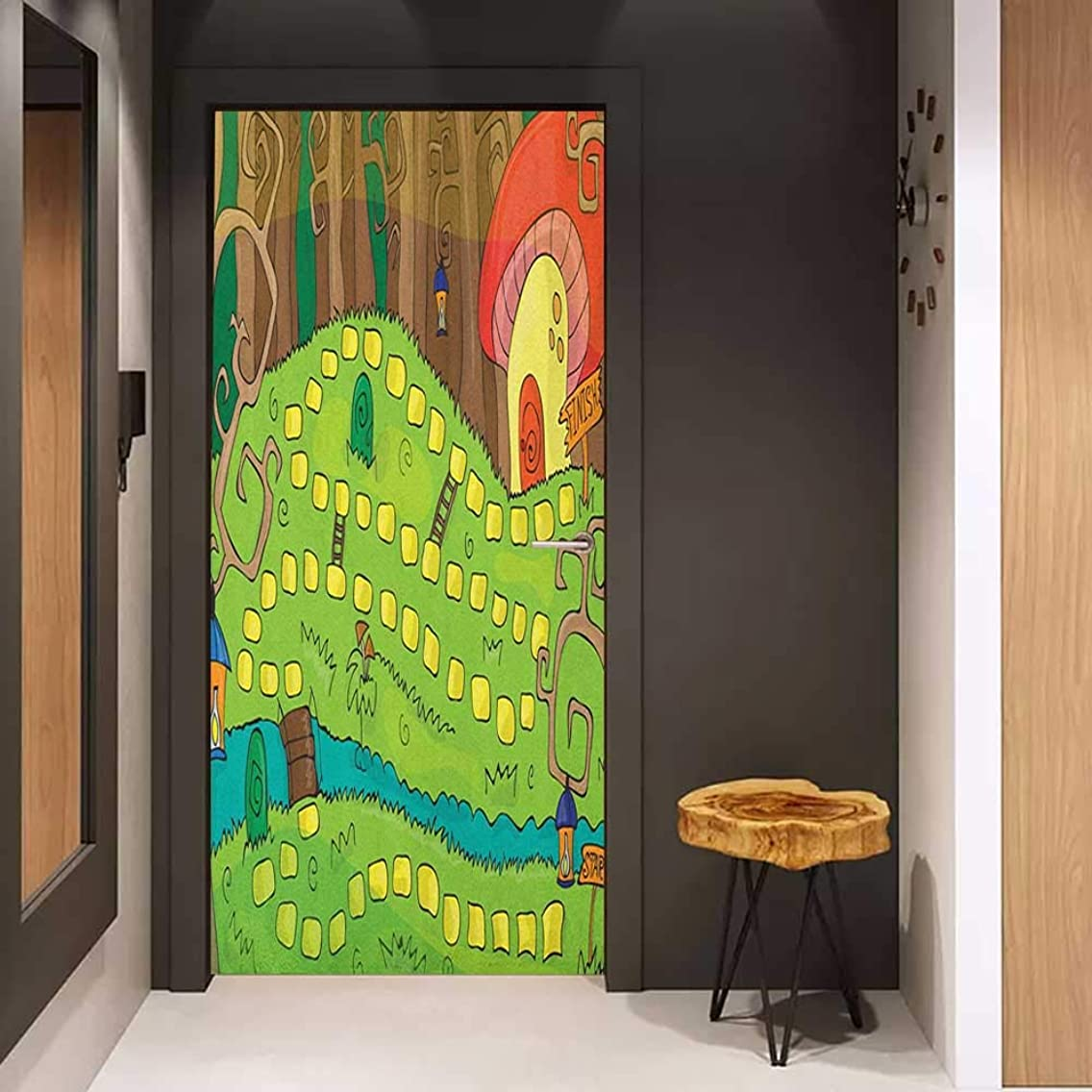 Onefzc Door Wallpaper Murals Kids Activity Board Game Style Design of Pathway to The Mushroom House in a Magical Forest WallStickers W32 x H80 Multicolor
