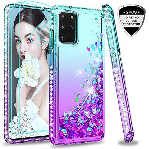 LeYi per Cover Samsung Galaxy S20+ Plus / S20 Plus 5G con 3D Pet Pellicola [2 Pack],Brillantini Diamond Glitter Custodia 3D Rigida Silicone Bumper per Custodie Samsung S20+ Turquoise Violet Gradient