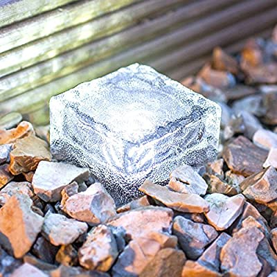 Frosted Glass Brick Paver Garden Light, 4 LED, IMAGE Waterproof Ice Cube Rocks Solar light for Outdoor Path Road Square Yard, Pure White