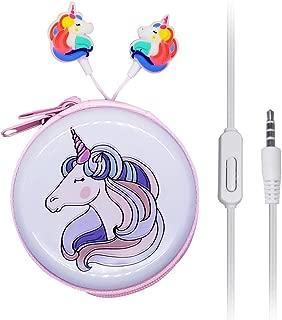 in Ear 3D Cute Cartoon Animal Unicorn Earbuds Headphones with Mic with Earphone Case Hands-Free Purple J12
