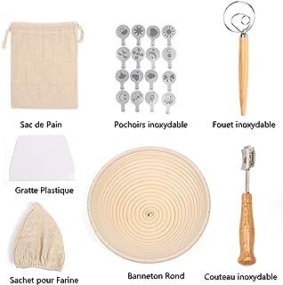 RAIN QUEEN - Cesto Redondo Impermeable para Pan (22 cm, Herramienta de Pasta, Cuchillo, raspador, Bolsa, Hoja para Pan, 27 Unidades)