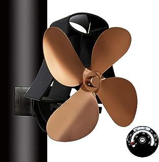 HUIGE Ventilador De 4 Aspas para Quemador De Leña con Termómetro De Estufa, Ventilador De Chimenea Colgante con Calor, Ventilador De Estufa Silencioso, para Estufas De Gas/Pellet/Leña/Leña,Bronce