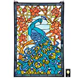 Design Toscano Paradise Stained Glass Window Hanging Panel, 35 Inch, Peacock Green