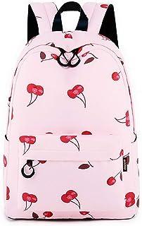 Joymoze Modischer Freizeitrucksack für Mädchen Jugendliche Schulrucksack Frauen Aufdruck Rucksack Geldbeutel (Kirsche)