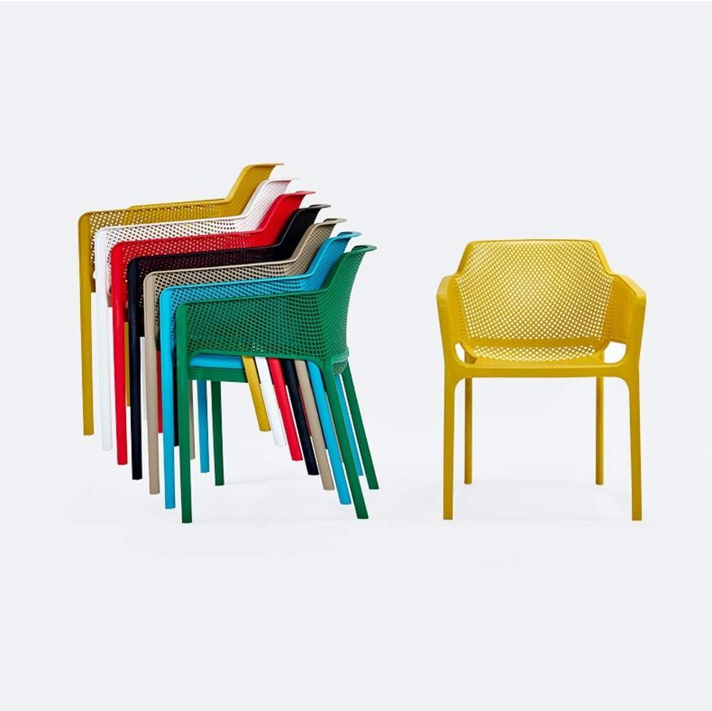 HURONG168 Chaises de cuisine Balustrade nordique loisirs maison dinant la chaise loisirs en plein air dossier en plastique chaise tabouret siège lounge (Couleur : Vert) Gray