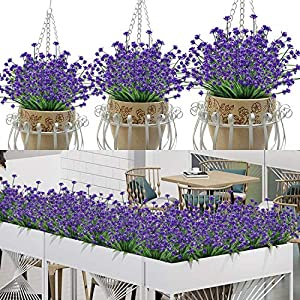AY 24 Bundles Artificial Flowers Outdoor Decoration, UV Resistant Plastic Fake Flower Outdoor Greenery Plant, for Hanging-Planters-Window Boxes-Wedding-Home-Garden-Cemetery Décor