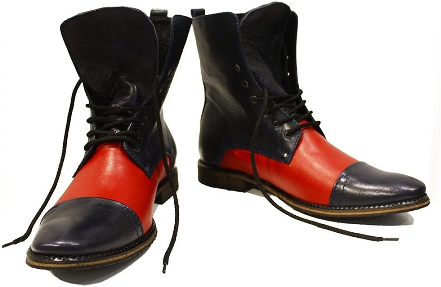 Peppeshoes Modello Stiletto - Handmade Italian Leather Mens color Red High Boots - Cowhide Smooth Leather - Lace-Up