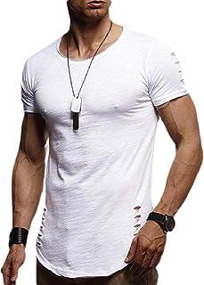 Mens Summer Hole Ripped Shirts Tops Short Sleeve T-Shirts Blouse