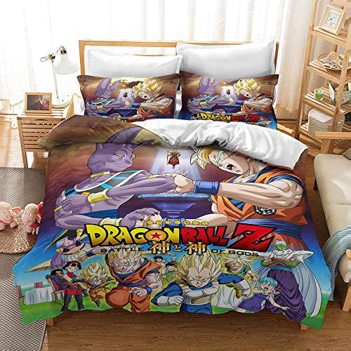 Bedding Set for Boys Youth Teens Queen Size Comforter Cover, 3D Dragonball Z Goku Design Microfiber Comforter Cover with 2 Pillow Shams