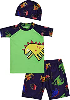 iEFiEL Boys Rashguard Swimsuit Top Shirts With Shorts Trunks Kids Dinosaur Swimwear Bathing Suit With Swimming Cap Hat Set