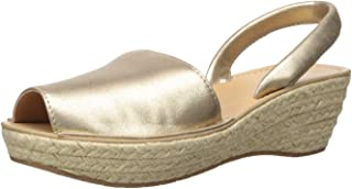 Women's Fine Glass Espadrille Platform Slingback Sandal Wedge