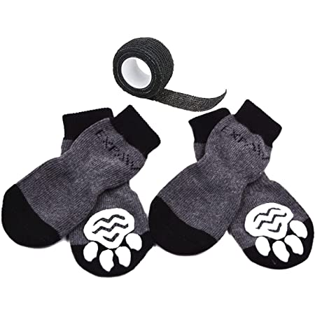EXPAWLORER Dog Socks Traction Control Anti-Slip for Hardwood Floor Indoor Wear, Paw Protection
