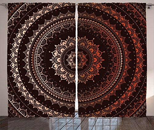 Ambesonne Mandala Curtains, Enclosing Magic Circle Middle Eastern Egyptian Folkloric Culture Pattern, Living Room Bedroom Window Drapes 2 Panel Set, 108